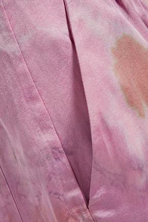 RAQUEL ALLEGRA Tie-dyed silk-blend satin straight-leg pants