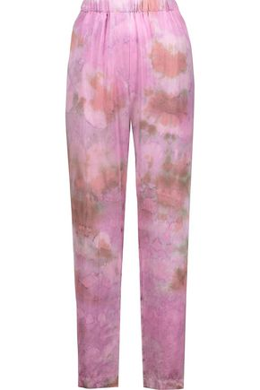RAQUEL ALLEGRA Tie-dyed silk-blend satin straight-leg pants