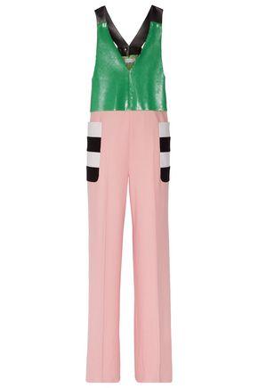 MAX MARA Color-block sequin-paneled wool-felt jumpsuit