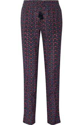 FIGUE Kerala printed cotton-blend crepe straight-leg pants