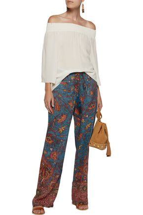 FIGUE Niara printed cotton-blend broadcloth wide-leg pants