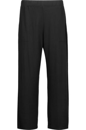 MAJESTIC Cropped jersey wide-leg pants
