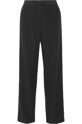 ALEXANDER MCQUEEN Cotton-blend grosgrain-trimmed crepe wide-leg pants