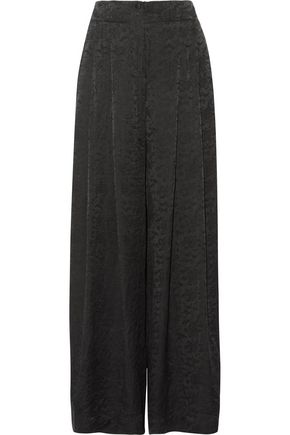 RAQUEL ALLEGRA Pleated silk-jacquard wide-leg pants