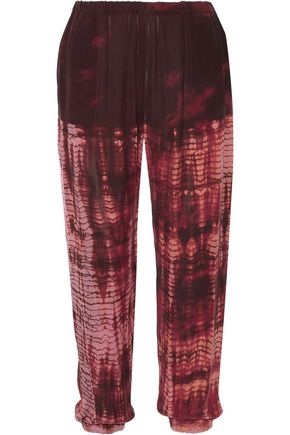 RAQUEL ALLEGRA Tie-dyed silk crepe de chine track pants