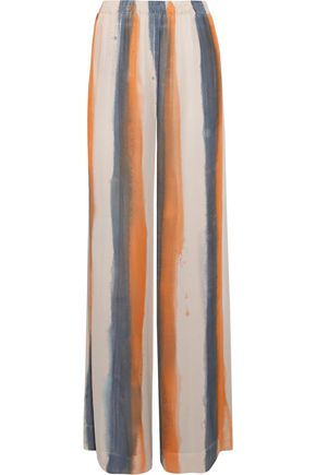 RAQUEL ALLEGRA Gathered striped silk crepe de chine wide-leg pants