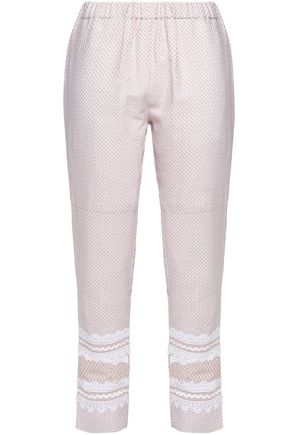 DODO BAR OR Lace-trimmed houndstooth cotton tapered pants