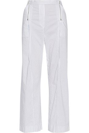 DION LEE Striped cotton-blend wide-leg pants