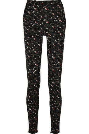 VICTORIA BECKHAM Floral stretch-jacquard skinny pants