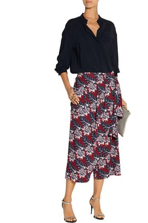 THAKOON Wrap-effect printed crepe culottes