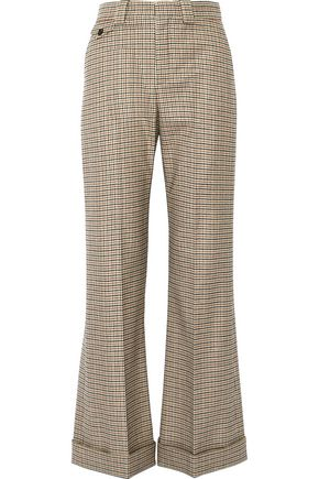 CHLOÉ Houndstooth stretch-wool flared pants