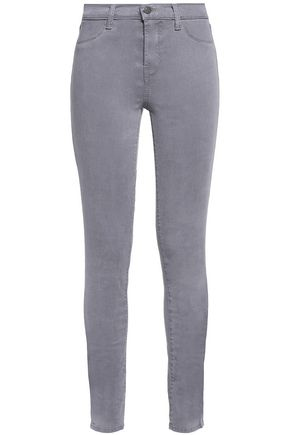 J BRAND 485 mid-rise brushed-twill skinny jeans