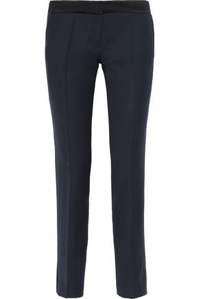 PALLAS Aurore satin-trimmed wool slim-leg pants