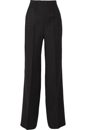 PALLAS Castor satin-trimmed grain de poudre wool wide-leg pants