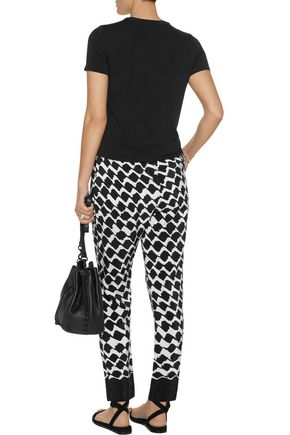DEREK LAM 10 CROSBY Printed silk straight-leg pants