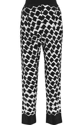 10 CROSBY DEREK LAM Printed silk straight-leg pants