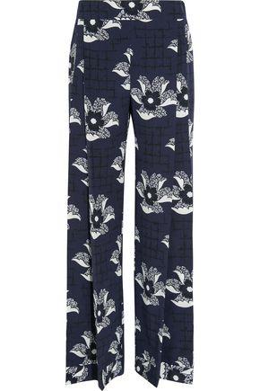 VICTORIA BECKHAM Floral-print silk crepe de chine wide-leg pants