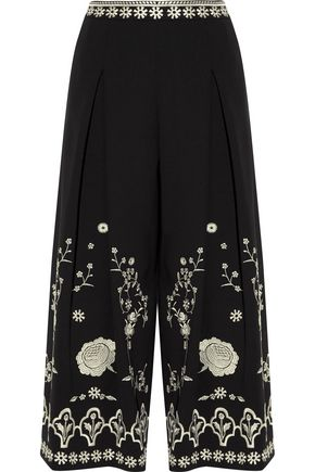 TEMPERLEY LONDON Lettie embroidered crepe wide-leg pants