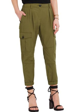 BURBERRY Pleated cotton-blend tapered pants