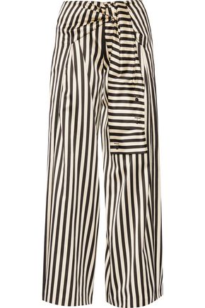 MONSE Striped duchesse silk-satin wide-leg pants