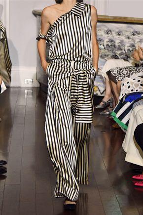 MONSE Striped duchesse silk-satin wide-leg pants