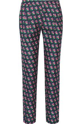 DIANE VON FURSTENBERG Leni floral-print silk-twill tapered pants