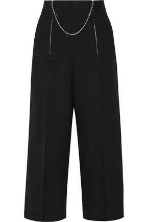 ALEXANDER WANG Embellished cotton and wool-blend twill wide-leg pants