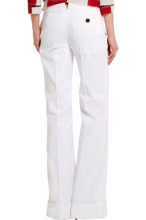 RONALD VAN DER KEMP J.M embellished cotton-twill wide-leg pants