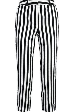 TOPSHOP UNIQUE Harleyford striped cotton-blend slim-leg pants