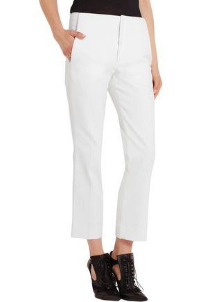ROLAND MOURET Mimosa cropped cotton and silk-blend piqué straight-leg pants