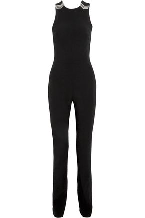 MUGLER Open-back embellished crepe jumpsuit