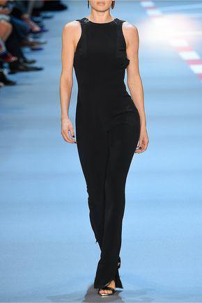 MUGLER Open-back embellished crepe jumpsuit