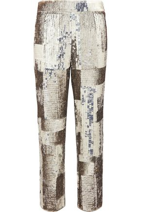CHLOÉ Sequined georgette straight-leg pants