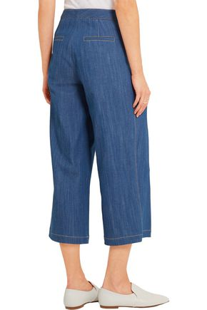 ADAM LIPPES Pleated stretch-denim culottes