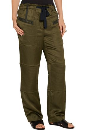 ELIZABETH AND JAMES Bode quilted satin-twill straight-leg pants