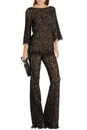MICHAEL KORS COLLECTION Corded cotton-blend lace flared pants