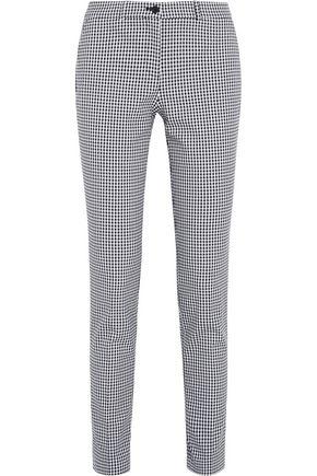 MICHAEL KORS COLLECTION Samantha gingham stretch-wool gabardine slim-leg pants