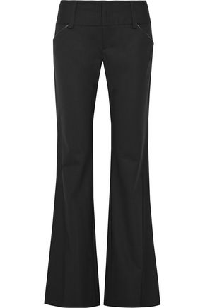 ALICE + OLIVIA Olivia leather-trimmed wool-blend bootcut pants