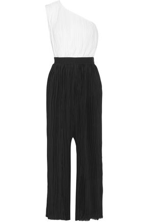 TOME Two-tone plissé-satin jumpsuit