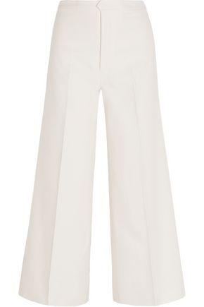 ISABEL MARANT Steve cropped cotton and linen-blend twill wide-leg pants