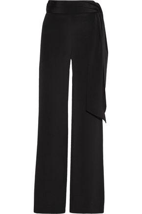 CUSHNIE ET OCHS Belted silk crepe de chine wide-leg pants