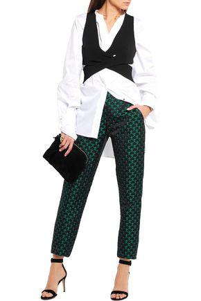 MARY KATRANTZOU Agate satin-jacquard straight-leg pants