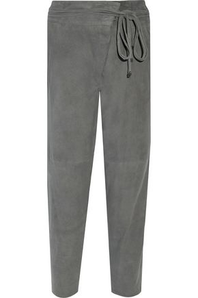 TIBI Wrap-effect suede straight-leg pants