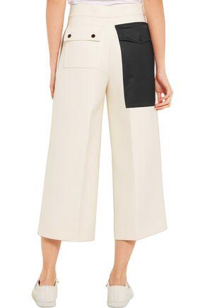 JOSEPH Fitz cropped satin-paneled cotton-twill wide-leg pants