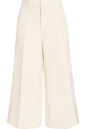 JOSEPH Fitz cropped satin-paneled cotton-twill wide-leg pants