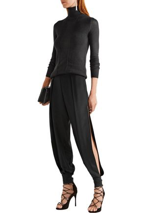 HANEY Alice cutout silk crepe de chine tapered pants