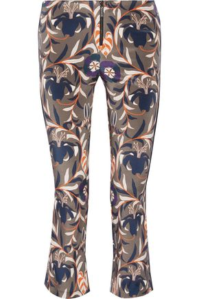 HANEY Cropped printed stretch-silk bootcut pants