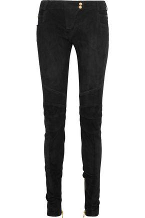 BALMAIN Moto-style suede skinny pants
