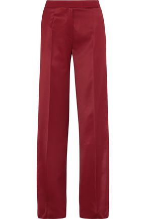 PALLAS Satin-trimmed wool-crepe wide-leg pants