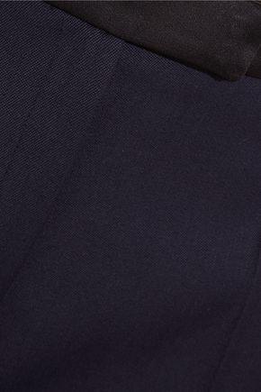 PALLAS Satin-trimmed wool-crepe wide-leg pants